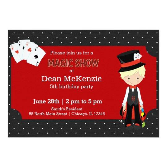 Magic Show Birthday Party Invitations | Magic Show Birthday Party Invitation Zazzle Co Uk