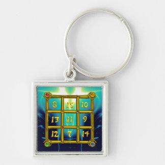MAGIC SQUARE 33 , Blue Turquase Silver-Colored Square Key Ring
