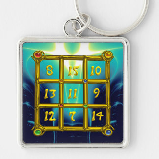 MAGIC SQUARE 33 , Blue Turquoise Silver-Colored Square Key Ring