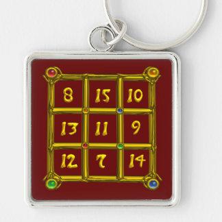 MAGIC SQUARE 33 , Red Silver-Colored Square Key Ring