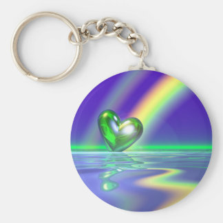 Magic St. Patrick's Day Heart Basic Round Button Key Ring