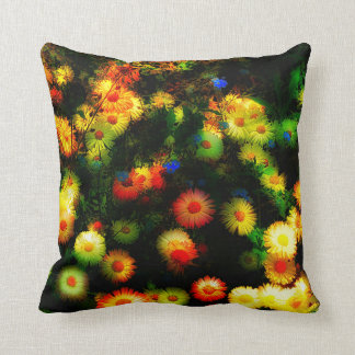 Magic Stylized Neon Flowers Throw Pillow