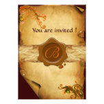 MAGIC SWIRLS PARCHMENT AND BROWN WAX SEAL MONOGRAM