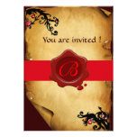 MAGIC SWIRLS PARCHMENT AND RED WAX SEAL MONOGRAM