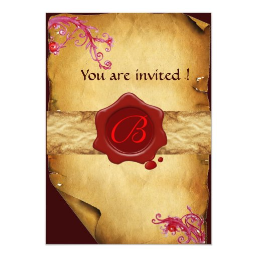 MAGIC SWIRLS PARCHMENT AND RED WAX SEAL MONOGRAM 13 CM X 18 CM INVITATION CARD