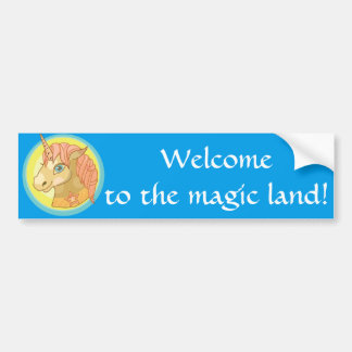 Magic Unicorn cartoon baby fantasy illustration Bumper Sticker