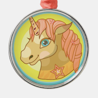 Magic Unicorn cartoon baby fantasy illustration Silver-Colored Round Decoration