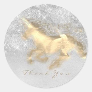 Magic Unicorn Gold Stars Thank Gray Grungy Glitter Classic Round Sticker