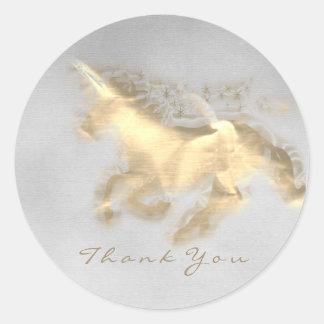 Magic Unicorn Gold Stars Thank Gray Grungy Ombre Classic Round Sticker