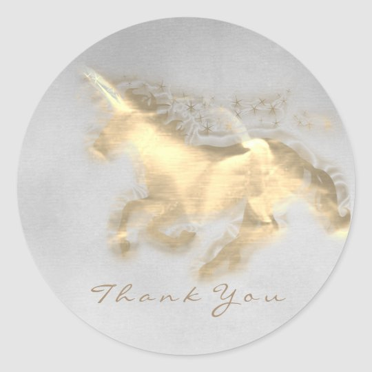 Magic Unicorn Gold Stars Thank Gray Grungy Ombre Classic Round Sticker