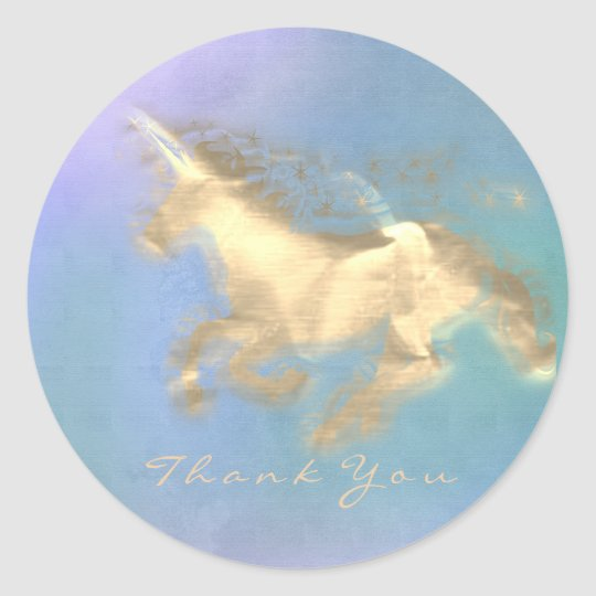 Magic Unicorn Gold Stars Thank You Blue Ombre Classic Round Sticker