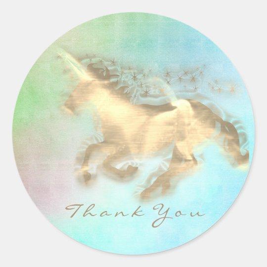 Magic Unicorn Gold Stars Thank You Mint Blue Ombre Classic Round Sticker