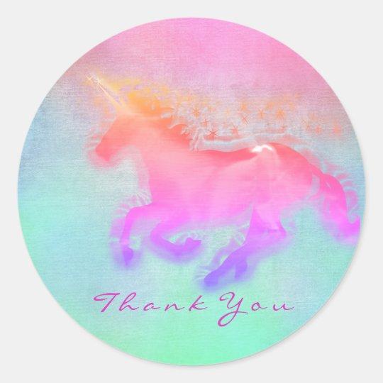 Magic Unicorn Hearts Stars Thank You Mint Ombre Classic Round Sticker