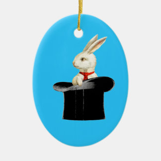magic vintage top hat rabbit christmas ornament