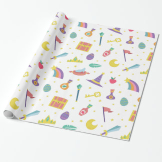 MAGIC WIZARD FAIRY TALE ELEMENTS white background Wrapping Paper
