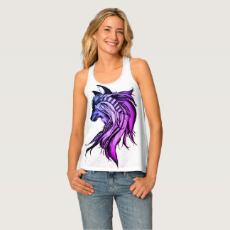 Magic Wolf, Blue and Purple Tank Top