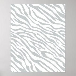 Magic Zebra Stripes Click to Customize Grey Color Poster