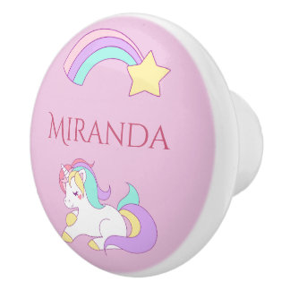 Magical and cute unicorn with rainbow pink name ceramic knob