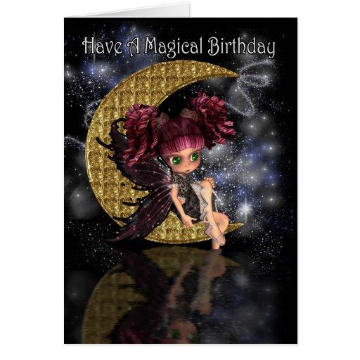 Magical Birthday cute little moon fairy by moonlak Greeting Cards