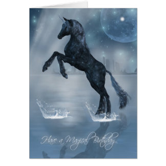 Magical birthday dark fantasy Unicorn Card