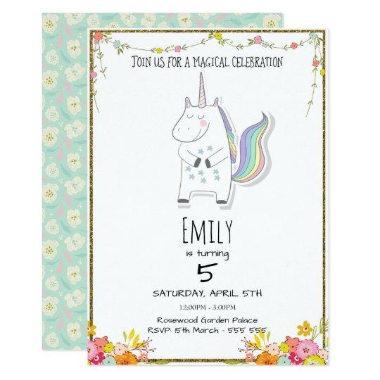 Magical Birthday Unicorn Fairytale Invitation Card