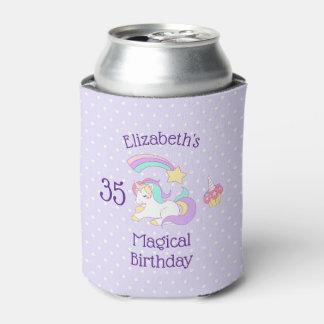 Magical Birthday Unicorn Shooting Star & Cupcake Can Cooler