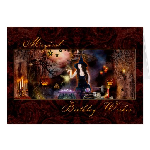 Magical Birthday - Witch card