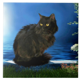 Magical Black Cat Ceramic Tile