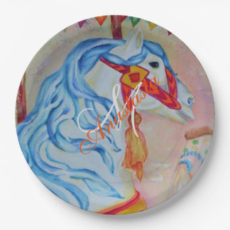MAGICAL CAROUSEL HORSE MONOGRAM PARTY PAPER PLATE