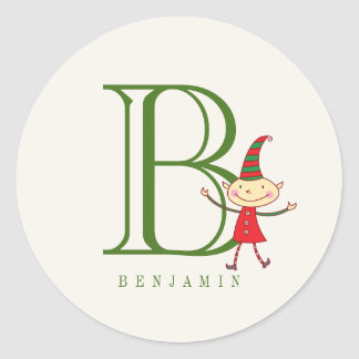 Magical Christmas Elf Monogram Holiday Sticker