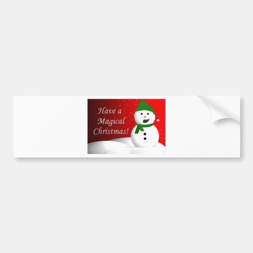 Magical Christmas Snowman Bumper Sticker