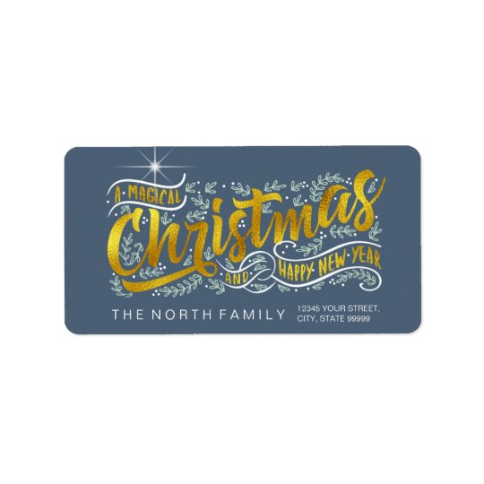 Magical Christmas Typography Horizontal Gold ID441 Address Label
