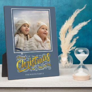 Magical Christmas Typography Photo Gold ID441 Plaque