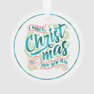 Magical Christmas Typography Teal ID441 Ornament