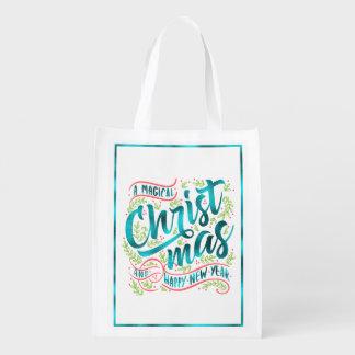 Magical Christmas Typography Teal ID441 Reusable Grocery Bag
