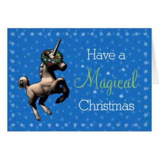 """Magical Christmas"" Unicorn Note Card (Blue)"