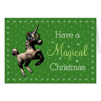 """Magical Christmas"" Unicorn Note Card (Green)"