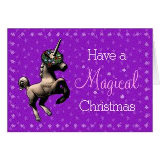 """Magical Christmas"" Unicorn Note Card (Purple)"