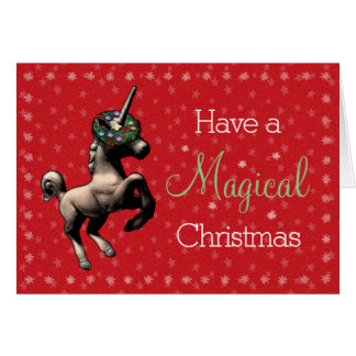 """""""Magical Christmas"""" Unicorn Note Card (Red)"""