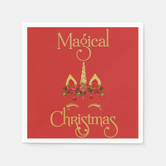 Magical Christmas Unicorn Red Gold Disposable Napkin