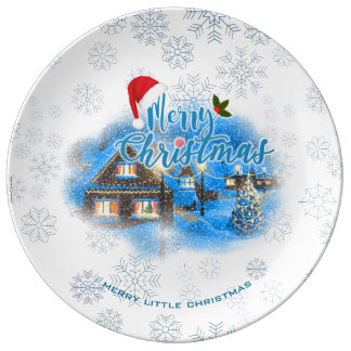 Magical Christmas Village Plate