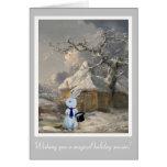 Magical Christmas White Rabbit Customisable Card