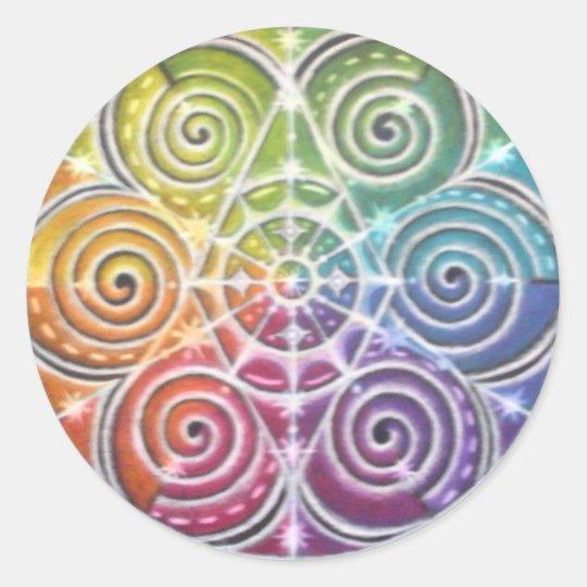 Magical Colour Wheel Mandala Classic Round Sticker