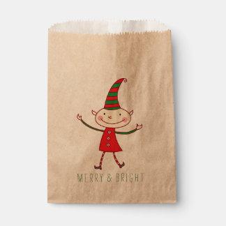 Magical Cute Christmas Elf Holiday Favor Bag