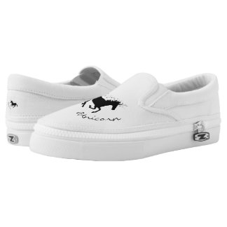 Magical Cute Unicorn Black and White Elegant Zipz Slip On Shoes