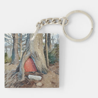 Magical Elf House Double-Sided Square Acrylic Key Ring