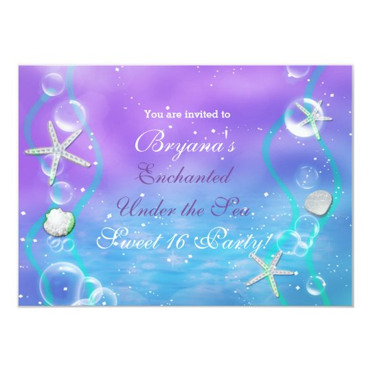 Magical Enchanted Under The Sea Party Invitation
