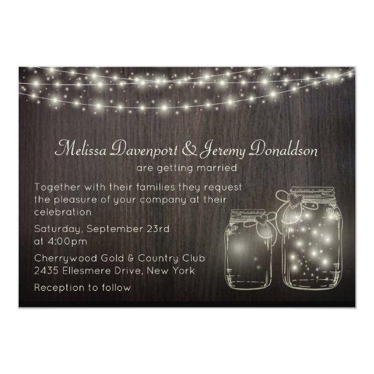 Magical Fairy Lights & Mason Jars Wedding Invite