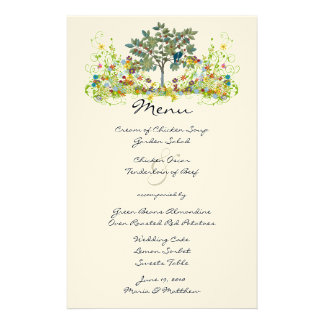 Magical Fairy Tale Forest Wedding Menu Customised Stationery