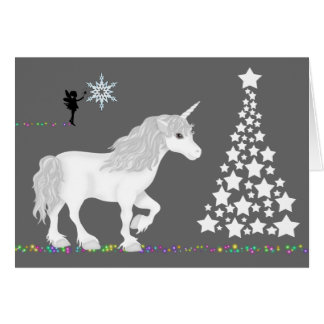Magical Fantasy Unicorn, Fairy and Christmas Tree Greeting Card